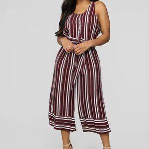 Romper maroon/white stripe